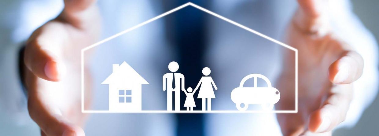 Verzekeringsconcept. Pictogrammen voor auto-, familie-, levens- en ziektekostenverzekeringen.